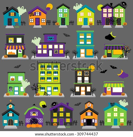 vector halloween town with