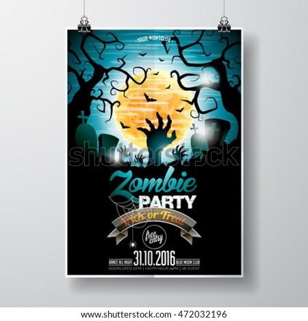 vector halloween zombie party