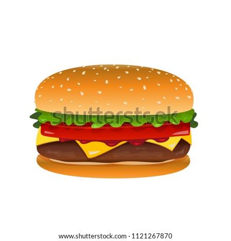 Vector hamburger clip art illustration