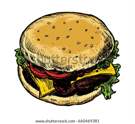 Vector hamburger in sketch style. Old hand drawn engraving imitation. Classic burger isolated on a white background. Sandwich with ingredients. Colorful vector illustration.