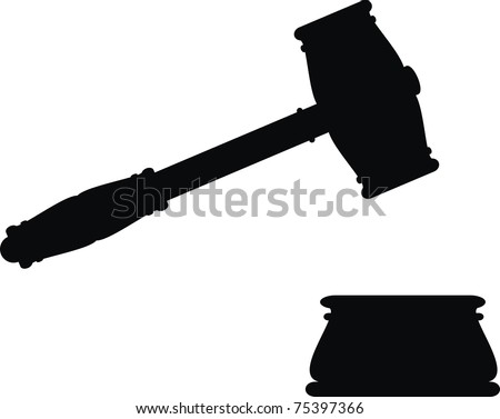 Vector hammer and anvil - symbols of law - isolated illustration - black silhouette on white background. Gavel