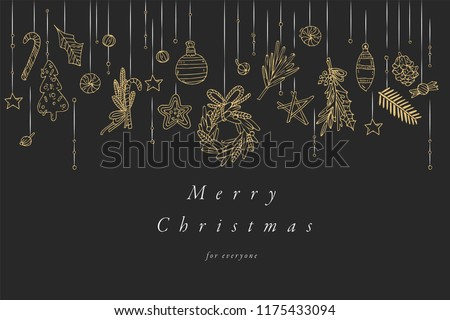 Stock Photo Vector hand draw design for Christmas greetings card golden color. Typography and icon for Xmas background, banners or posters and other printables. Winter holidays design elements