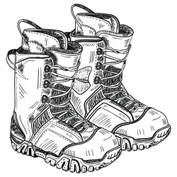 Vector hand draw illustration of snowboard boots isolated on white background. Sportwear equipment. Elements for ski resort picture, mountain activities.