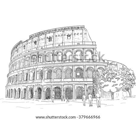 vector   hand draw roman...