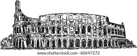 vector - hand draw Roman colosseum isolated on background