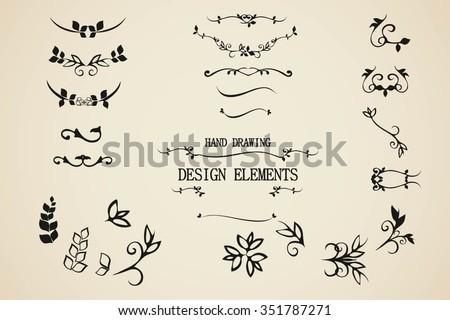 Vector Hand Draw Vintage Floral Design ElementsVintage Elements Graphic Decor