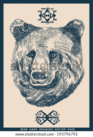 vector hand drawing bear head