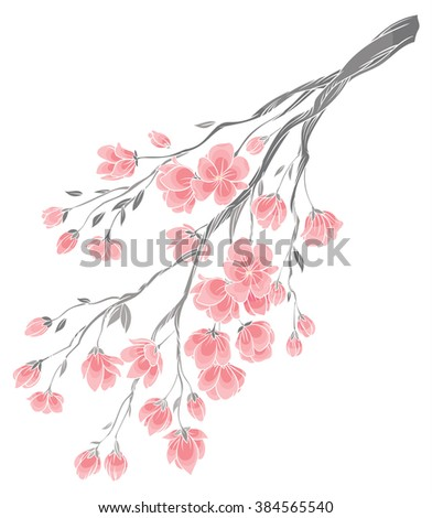 vector hand drawing   branch of