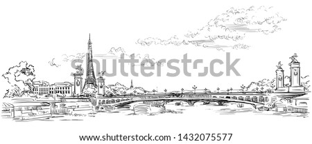 Vector hand drawing Illustration of Eiffel Tower, landmark of Paris, France in black color isolated on white background.Cityscape with Eiffel Tower and Pont Alexandre 3, view on Seine river embankment Stock photo ©