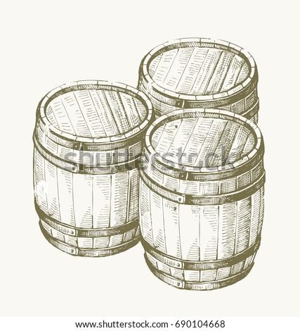 vector hand drawing wood barrel