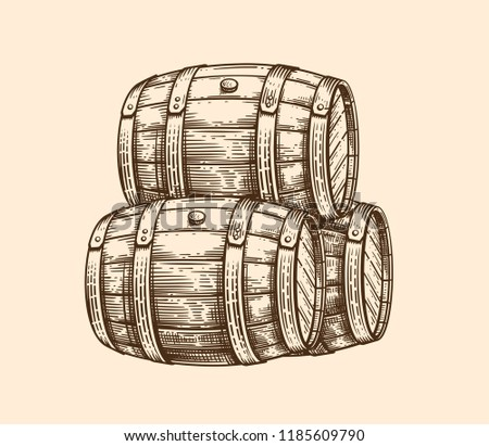 Vector hand drawing wood old barrel