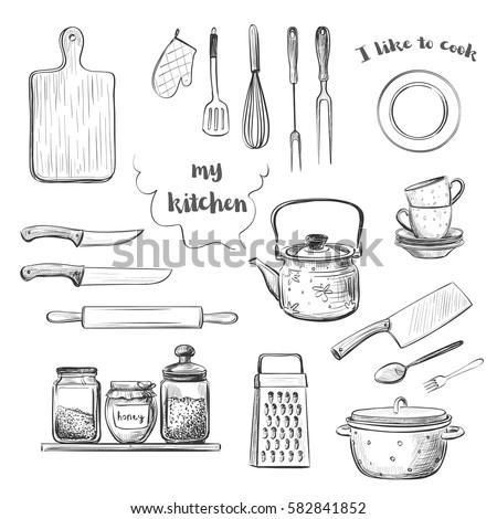 Vector hand drawings crockery and kitchen utensils.