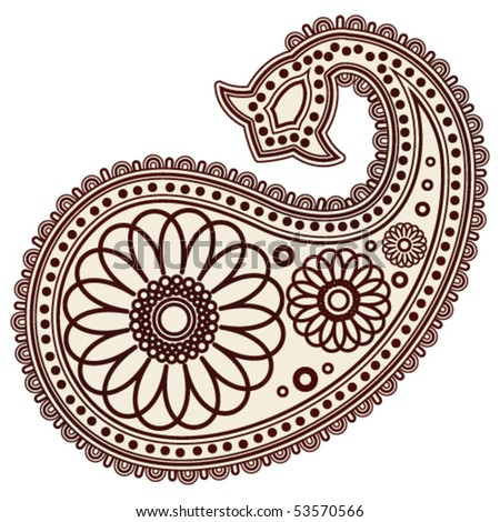 stock vector : Vector Hand-Drawn Abstract Henna (mehndi) Paisley Doodle Vector Illustration Design Elements.