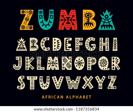 Vector Hand drawn African Tribal Font. Folk Scandinavian Script. English Ethnic Alphabet. Decorative ABC Letters Set. Typeface Design.