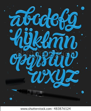 Vector hand drawn alphabet. Brush painted letters. Hand lettering and custom typography for your designs: logo, for posters, invitations, cards, etc. Vector type.