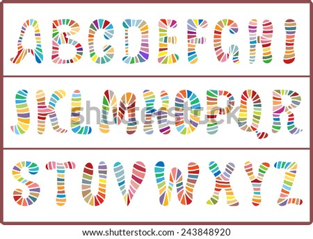 Vector hand drawn alphabet colorful capital letters isolated on light background