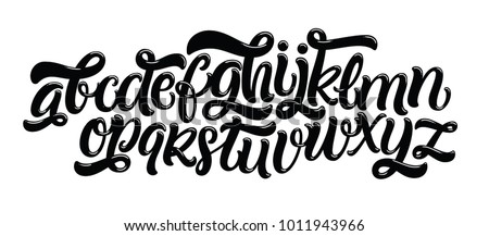 Vector hand drawn alphabet isolated on white background. Brush painted letters. Decorative  artistic font.