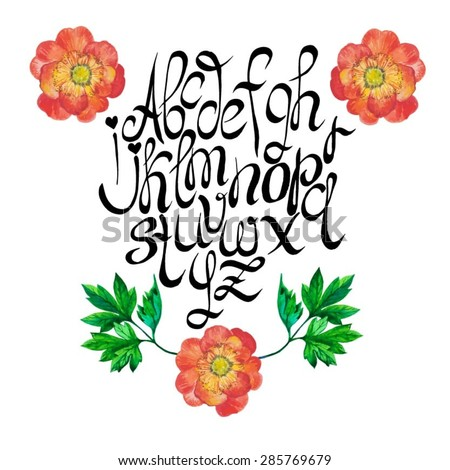 Vector hand drawn alphabet with floral decoration of beautiful watercolor garden flowers.