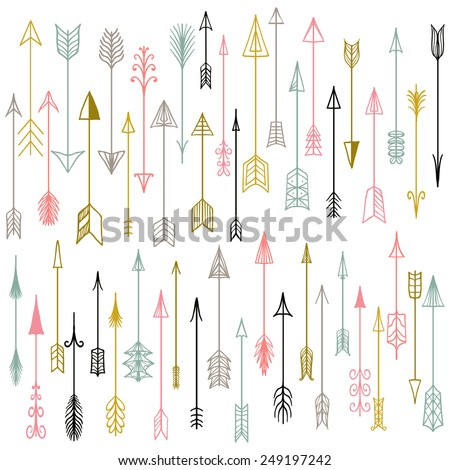 Vector hand drawn arrows collection. Doodle arrows made by hand drawn.  White backdrop. Used for your design, cards and invitations.