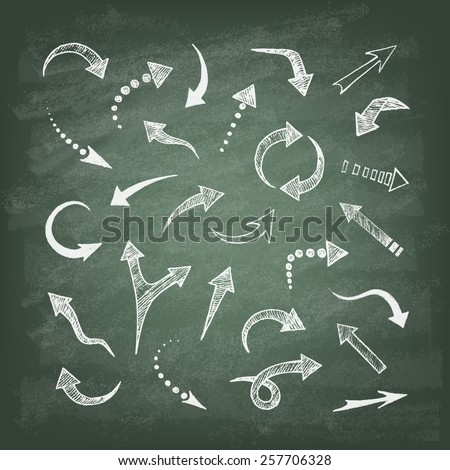 Vector hand drawn arrows icons set on the green blackboard. Abstract vector illustration.