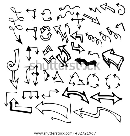 Vector hand drawn arrows set isolated on white #432721969