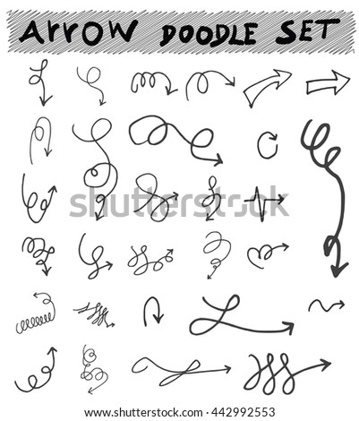 Vector hand drawn arrows set isolated on white #442992553