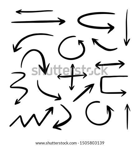 vector hand drawn arrows set on a white background