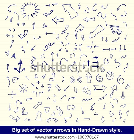 Vector hand drawn arrows set written with blue ink on vintage paper