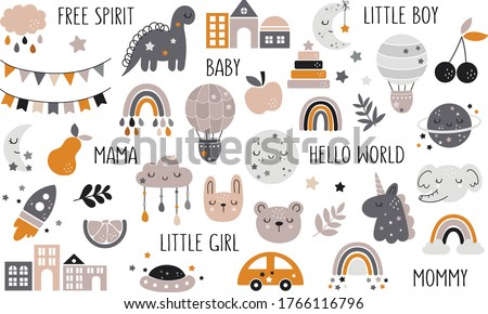 Vector hand drawn baby collection for nursery decoration with cute rainbows, fruit, bunting. Doodle illustration. Perfect for baby shower, birthday, children's party, summer holiday, clothing prints