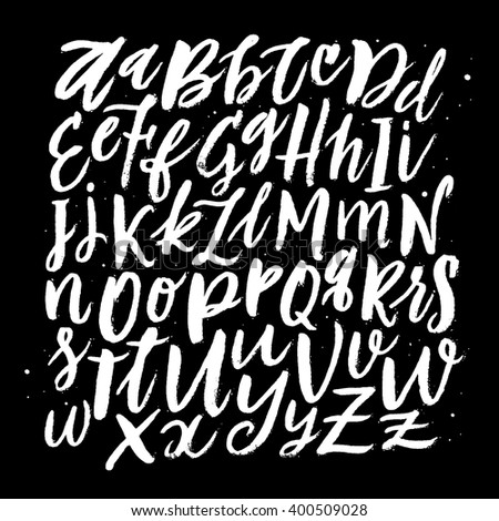 Vector Hand Drawn Background. Brush Painted Letters. Handwritten Script Alphabet. Hand Lettering and Custom Typography for  Designs: Logo, for Posters, Invitations, Cards, etc. Vector Illustrations.