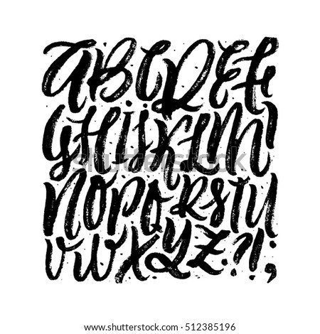 Vector Hand Drawn Background. Brush Painted Letters. Handwritten Script Alphabet. Lettering and Typography isolated on white for Designs: Logo, for Posters, Patterns, Cards, etc. Vector Illustrations.