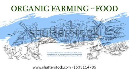 Vector hand drawn banner in engraving style of panoramic rural landscape with mill, barn, field, mill and poultry. Label or landing page for local farm market, organic food store or natural products.