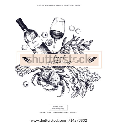 Vector hand drawn banner. Local gatherings. Frame composition. Wine, seafood, cheese, chicken meet, farm vegetables olive, beetroot, corn. Engraved art Sketched objects restaurant menu party