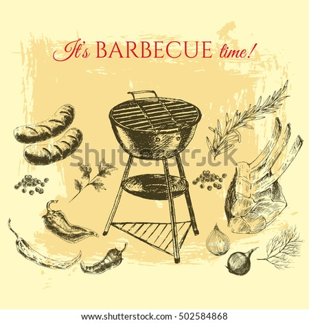 vector hand drawn barbecue and...