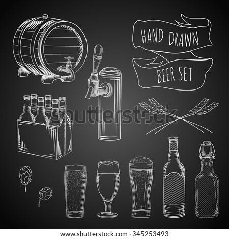 vector hand drawn beer set