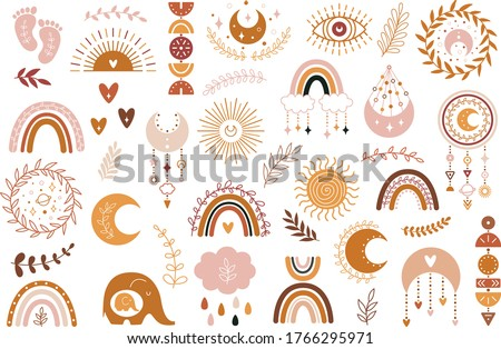 Vector hand drawn boho clipart for nursery decoration with cute rainbows and moon, sun, cloud, dream catcher. Doodle modern illustration. Perfect for baby shower, birthday, children's party Foto d'archivio ©