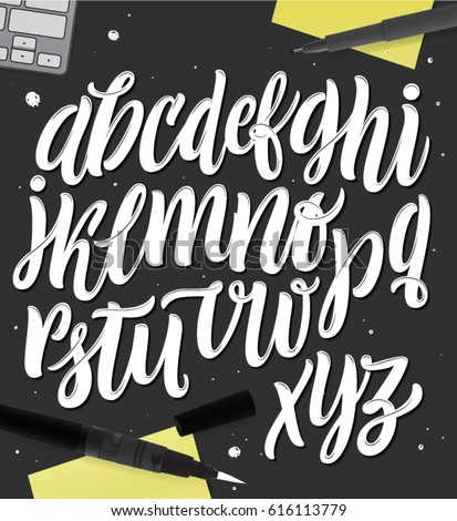 Vector hand drawn bold typeface. Brush letters. Handwritten script alphabet. Handmade alphabet for your designs: logo, posters, invitations, cards, etc.