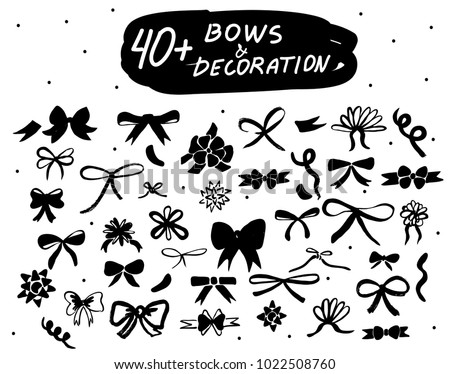Vector hand drawn bows set. Black doodle decor isolated icons collections for decoration, web design, logo, app, UI.