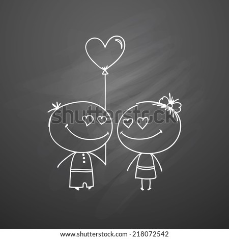 vector hand drawn boy and girl on black chalkboard
