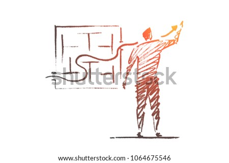 Vector hand drawn business concept sketch. Bisinessman standing backwards and drawing indicator of sustainable development through business maze.