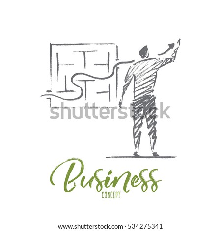 Vector hand drawn business concept sketch. Bisinessman standing backwards and drawing indicator of sustainable development through business maze. Lettering Business concept