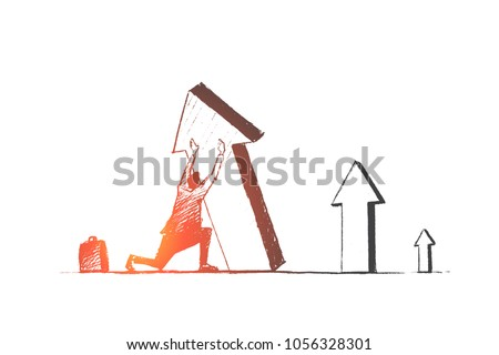 Vector hand drawn business concept sketch. Businessman sitting on his haunches and trying to lift falling indicator of growth by hands.