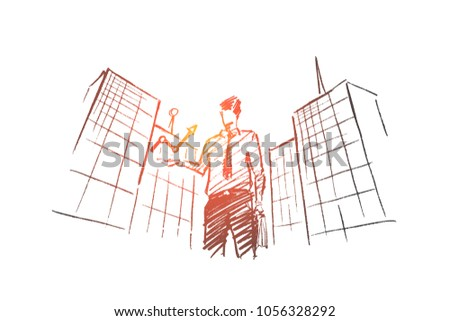 Vector hand drawn business concept sketch. Businessman standing on background of office building and holding indicator meaning progress and positive dynamics in business.
