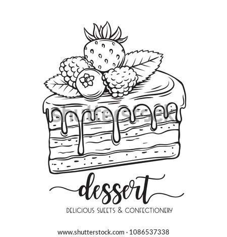 Vector hand drawn cake icon. Piece of chocolate dessert confectionery with berries strawberries, raspberries and blueberries for design cafe menu.