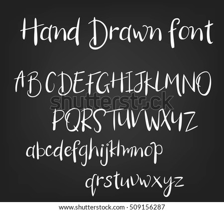 Vector Hand Drawn Calligraphic Font Handmade Calligraphy Tattoo Alphabet ABCEnglish Lettering