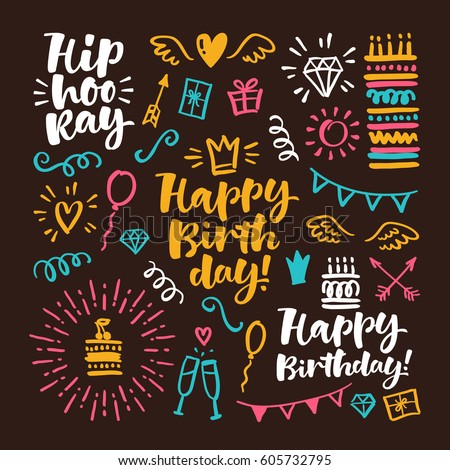 Vector hand drawn calligraphic illustration. Happy birthday set of lettering and graphic elements for invitation and greeting card, prints and posters.
