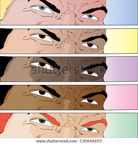 Vector hand drawn cartoon comic book eyes in various color