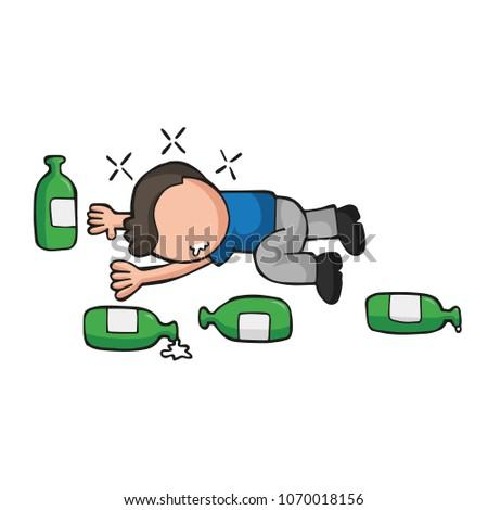 Vector hand-drawn cartoon illustration of drunk man lying on floor with empty beer bottles. Сток-фото ©