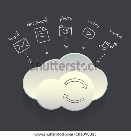 Vector Hand drawn Cloud Service Element on Dark background