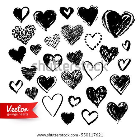 Vector hand drawn collection of black grunge Valentine hearts on white background.